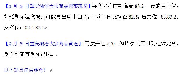 重庆渝涪榨菜3月28日行情分析