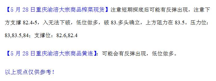重庆渝涪榨菜5月28日行情分析
