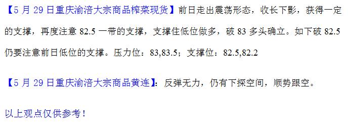 重庆渝涪榨菜5月29日行情分析