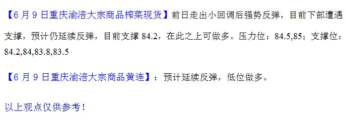 重庆渝涪榨菜6月9日行情分析